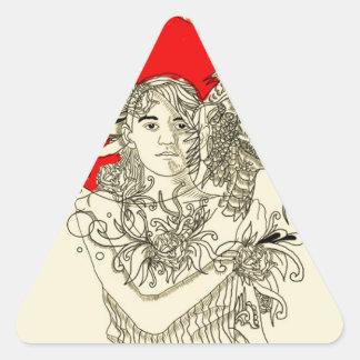 Pegatina Triangular señora del dragón