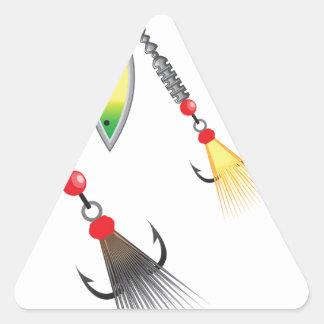 Pegatina Triangular Sistema de hilanderos que pescan el ejemplo del