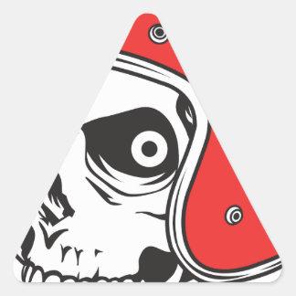 Pegatina Triangular ☞ Skullracer motorcycle helmet