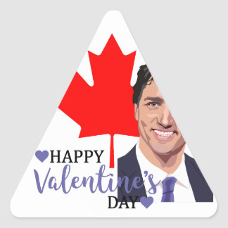 Pegatina Triangular tarjeta del día de San Valentín del trudeau de