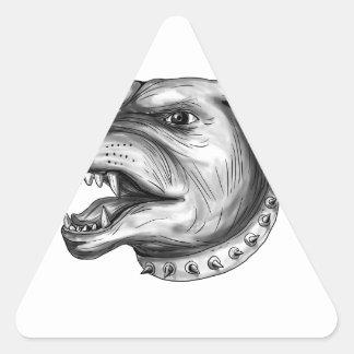 Pegatina Triangular Tatuaje el gruñir de la cabeza de perro de
