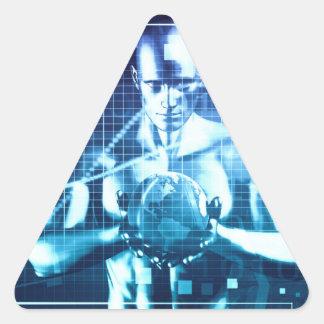 Pegatina Triangular Tecnologías integradas en un concepto llano global