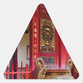 Pegatina Triangular Templo en Yilan, Taiwán