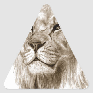 Pegatina Triangular Un león - sin arte del bosquejo del dibujo del