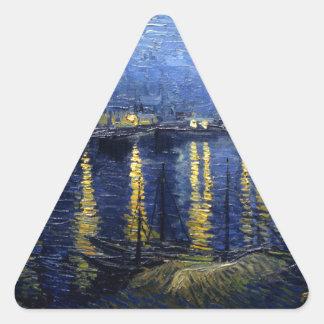 Pegatina Triangular Van Gogh: Noche estrellada sobre el Rhone