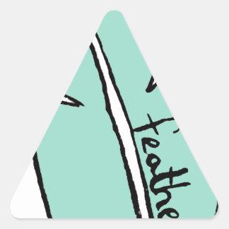 Pegatina Triangular verde de la pluma