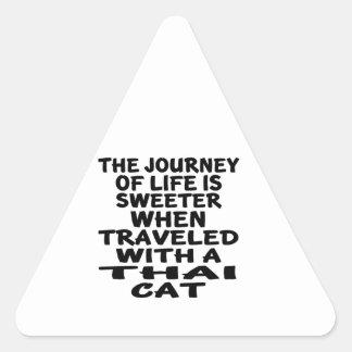 Pegatina Triangular Viajado con el gato tailandés