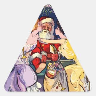 Pegatina Triangular Vintage Papá Noel