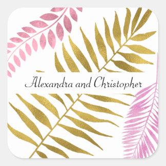 Pegatina tropical color de rosa del boda del oro y
