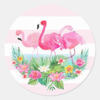 Pegatina tropical del favor del rosa de la