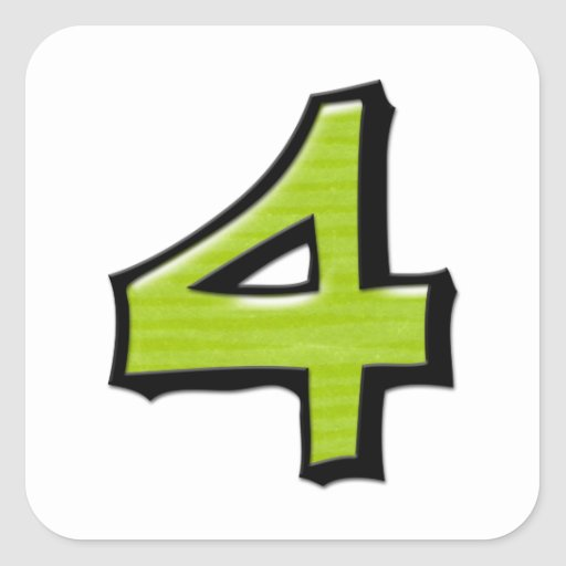 Pegatina verde de la casilla blanca del número 4