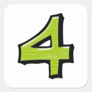 Pegatina verde de la casilla blanca del número 4 t
