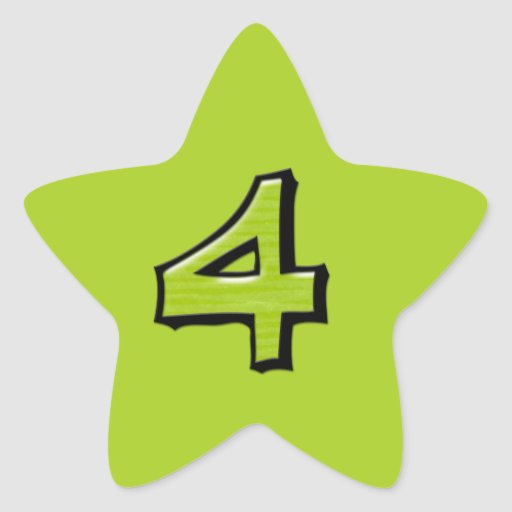 Pegatina verde de la estrella del número 4 tontos