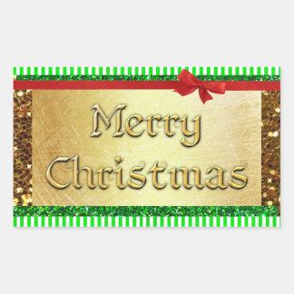 Pegatina verde de las Felices Navidad de los