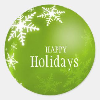 Pegatina verde de los copos de nieve de la bola