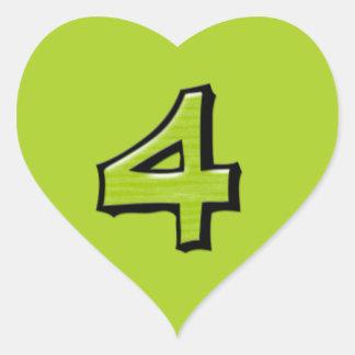 Pegatina verde del corazón del número 4 tontos