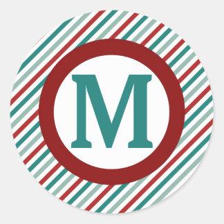 Pegatina verde del monograma del día de fiesta de