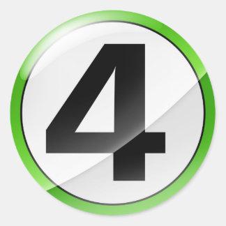 Pegatina verde del número 4