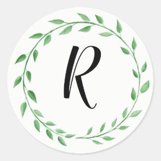 Pegatina verde simple del monograma de la