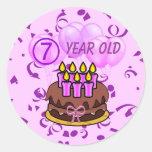 Pegatinas 7 años ultra lindos de la torta de cumpl