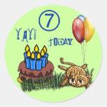 Pegatinas 7 años ultra lindos del cumpleaños del pegatina redonda
