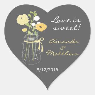 Pegatinas amarillos y grises del favor del boda pegatina corazón personalizadas