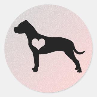 Pegatinas americanos del corazón de Terrier de Pegatina Redonda