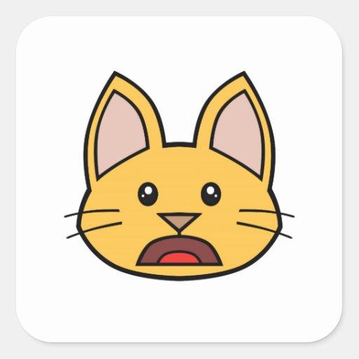 Pegatinas anaranjados 01 del gato FACE0000004 Colcomanias Cuadradas