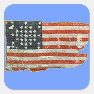 Pegatinas antiguos de la bandera americana del pegatina cuadrada