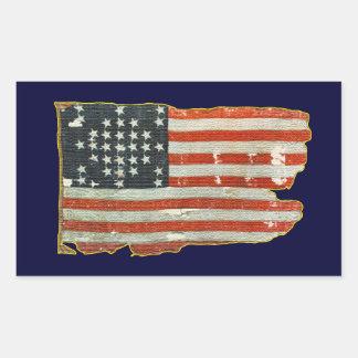 Pegatinas antiguos de la bandera americana del pegatina rectangular