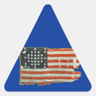 Pegatinas antiguos de la bandera americana del vin pegatina de trianguladas