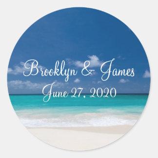 Pegatinas azules del boda de playa pegatina redonda