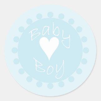 Pegatinas azules y blancos del bebé del corazón de pegatina redonda