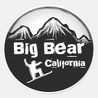 Pegatinas blancos negros de la snowboard de Big Pegatina Redonda