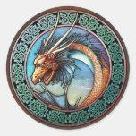 Pegatinas célticos del dragón del arte pegatina redonda
