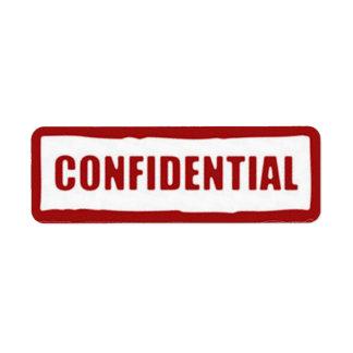 Pegatinas confidenciales etiqueta de remite