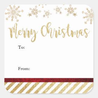Pegatinas cuadrados de las Felices Navidad Pegatina Cuadrada