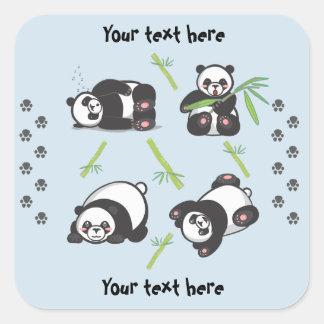 Pegatinas cuadrados de las pandas de Kawaii Pegatina Cuadrada