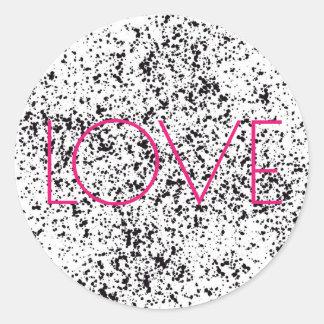 Pegatinas dálmatas de la impresión del amor pegatina redonda