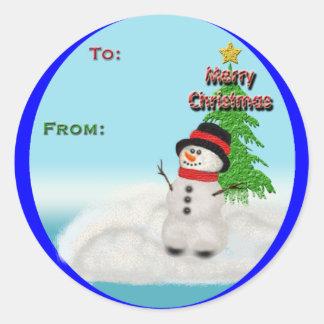 Pegatinas de a-de tag del navidad etiqueta redonda