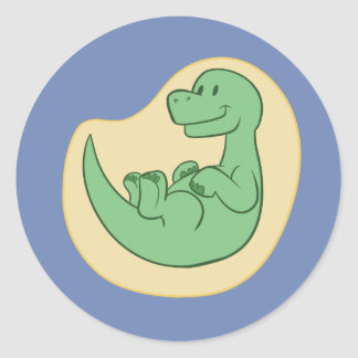 Pegatinas de Brontosaur del bebé (azules) Pegatina Redonda
