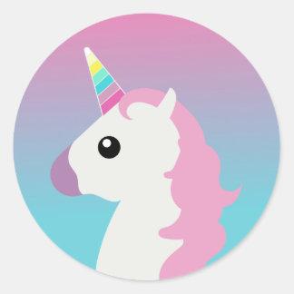 Pegatinas de Emoji Ombre del unicornio Pegatina Redonda
