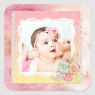 Pegatinas de encargo de la foto del bebé o de pegatina cuadrada