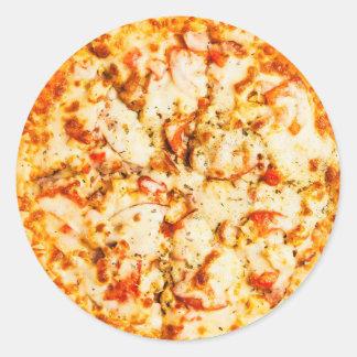 Pegatinas de Foodie de la pizza de queso Pegatina Redonda