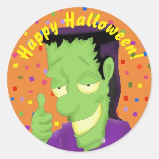 Pegatinas de Frankencool Halloween Pegatina Redonda