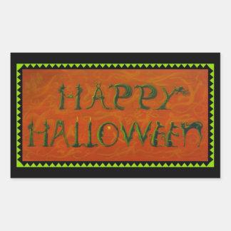 Pegatinas de Halloween, bruja, negro, gato, Pegatina Rectangular