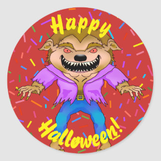 Pegatinas de Halloween del hombre lobo Pegatina Redonda