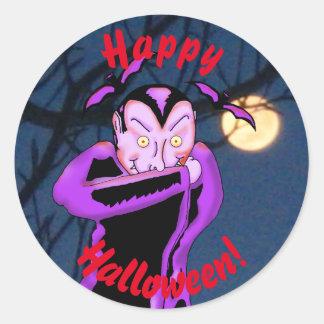 Pegatinas de Halloween del vampiro Pegatina Redonda