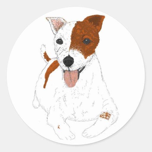 Pegatinas de Jack Russell Terrier Etiqueta Redonda