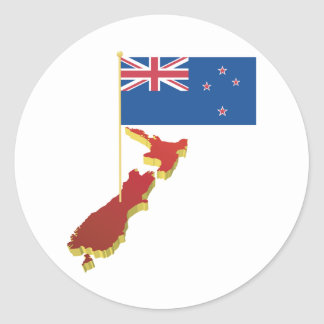 Pegatinas de la bandera de Nueva Zelanda Pegatina Redonda